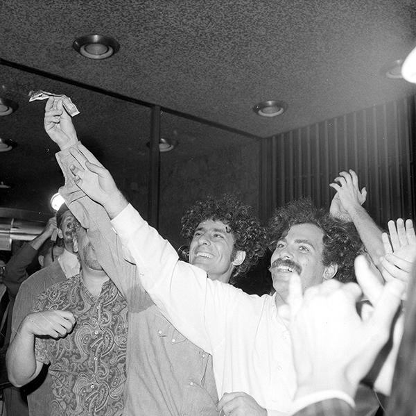 <div class='meta'><div class='origin-logo' data-origin='AP'></div><span class='caption-text' data-credit='AP Photo'>Political activists Abbie Hoffman, left, and Jerry Rubin set five-dollar bills on fire at the Financial Center in New York, Aug. 24, 1967.</span></div>