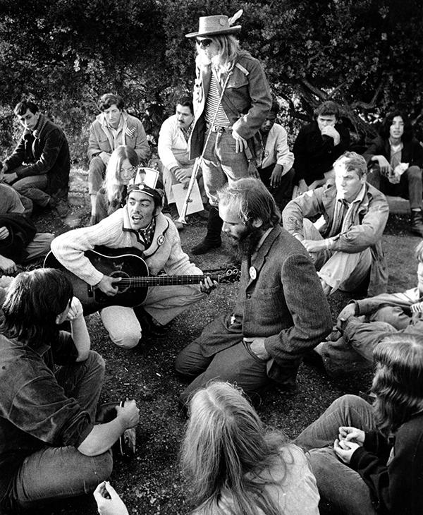 <div class='meta'><div class='origin-logo' data-origin='AP'></div><span class='caption-text' data-credit='AP Photo'>A large group of hippies greets the sunrise with music from a hilltop in San Francisco, Calif., on Oct. 6, 1967.</span></div>