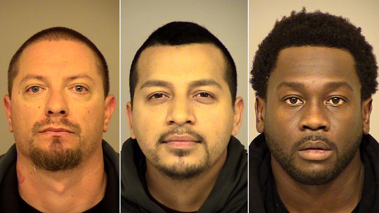 Joseph Valenzuela, 38, Carlos Chavez, 28, and Rahim Leblanc, 30, are shown in mugshots.
