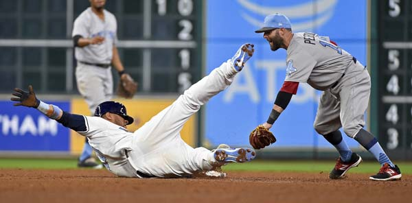 "<div class=""meta image-caption""><div class=""origin-logo origin-image ap""><span>AP</span></div><span class=""caption-text"">Astros' Yuli Gurriel, left, falls over after sliding into second for a double, as Red Sox second baseman Dustin Pedroia looks to apply the tag (AP Photo/Eric Christian Smith) (AP)</span></div>"