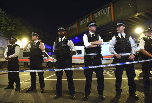 "<div class=""meta image-caption""><div class=""origin-logo origin-image ap""><span>AP</span></div><span class=""caption-text"">Police officers man a cordon near the Seven Sisters Road at Finsbury Park where a vehicle struck pedestrians. (AP)</span></div>"