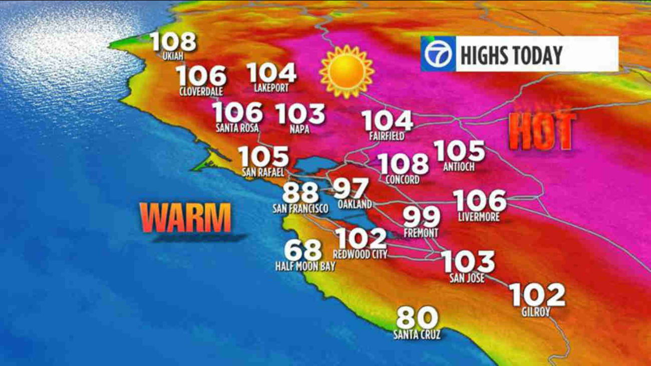 This is a weather graphic showing the high temperatures for the San Francisco Bay Area on Sunday, June 18, 2017..