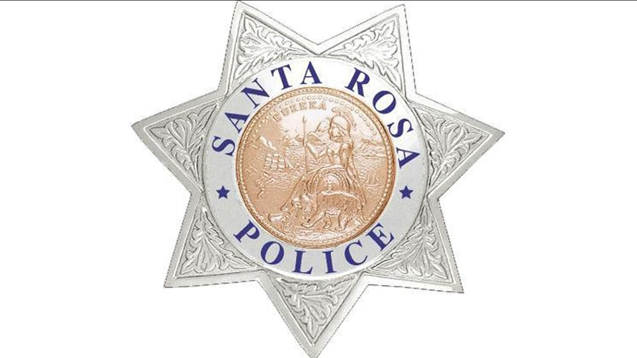 This undated image shows a badge for the police department in Santa Rosa, Calif.