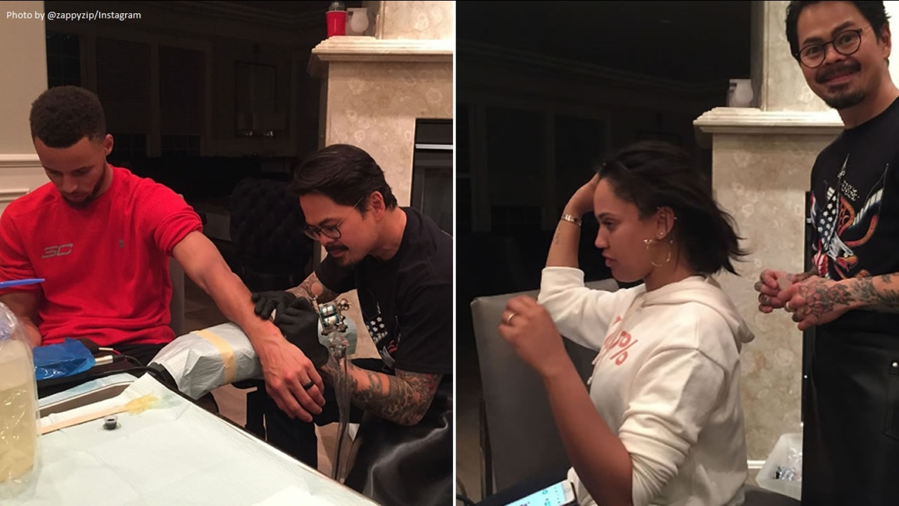 Stephen and Ayesha Curry get tattoos in these photos posted to Instagram on Wednesday, June 14, 2017.