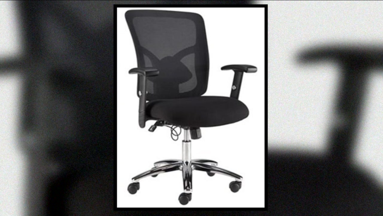 A mesh office chair sold by Staples is seen in this undated image.