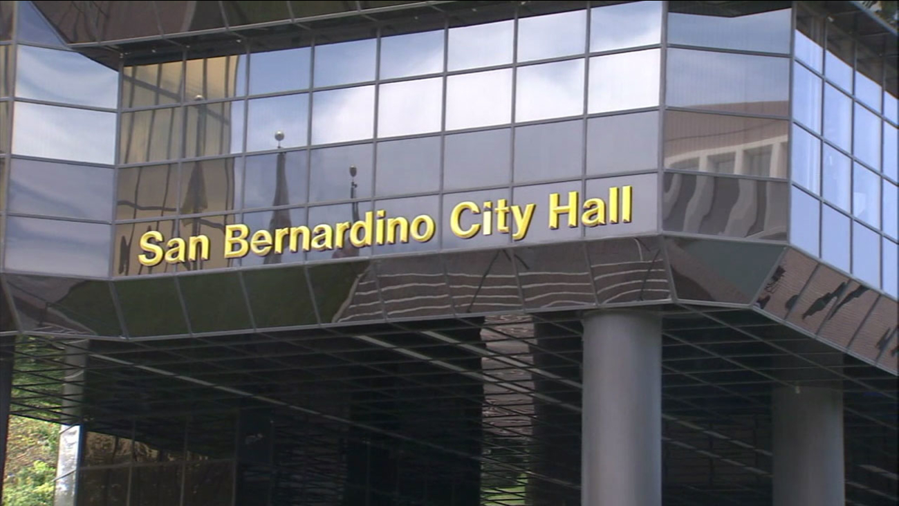 The front of the San Bernardino City Hall building is shown in a file photo.