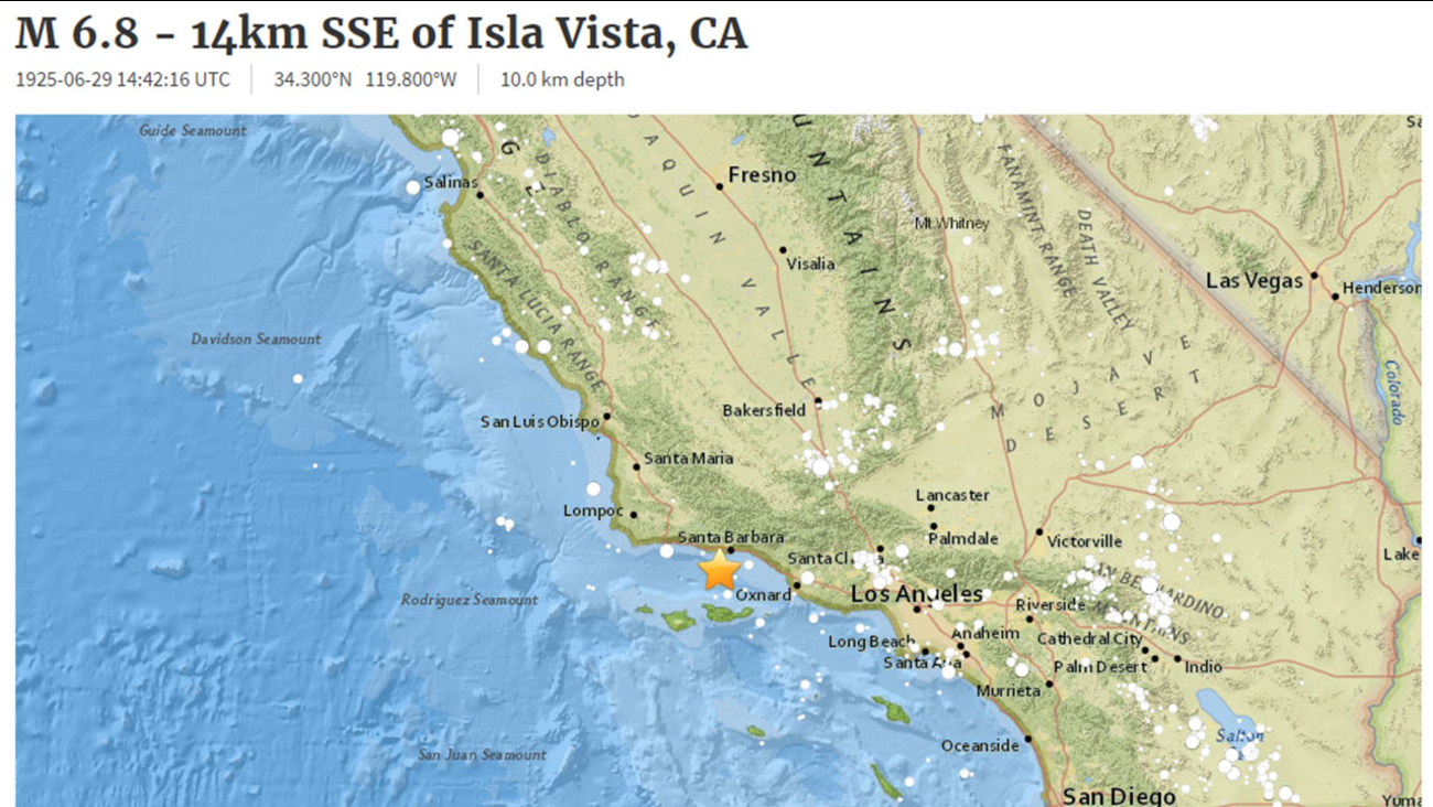A new earthquake alert sent out Wednesday by the USGS was actually a glitch, referring to the historic Santa Barbara earthquake of 1925.