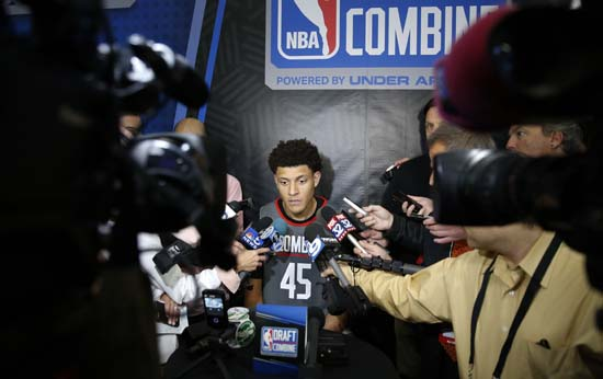 <div class='meta'><div class='origin-logo' data-origin='AP'></div><span class='caption-text' data-credit='AP'>Justin Jackson, center, from North Carolina, listens to a question at the NBA draft basketball combine Thursday, May 11, 2017, in Chicago. (AP Photo/Charles Rex Arbogast)</span></div>