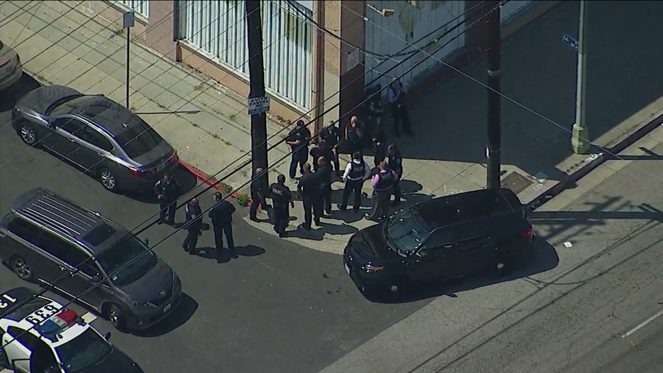 Authorities surrounded an area where an off-duty Hawthorne officer was shot at during a robbery attempt in South Los Angeles on Thursday, June 22, 2017.