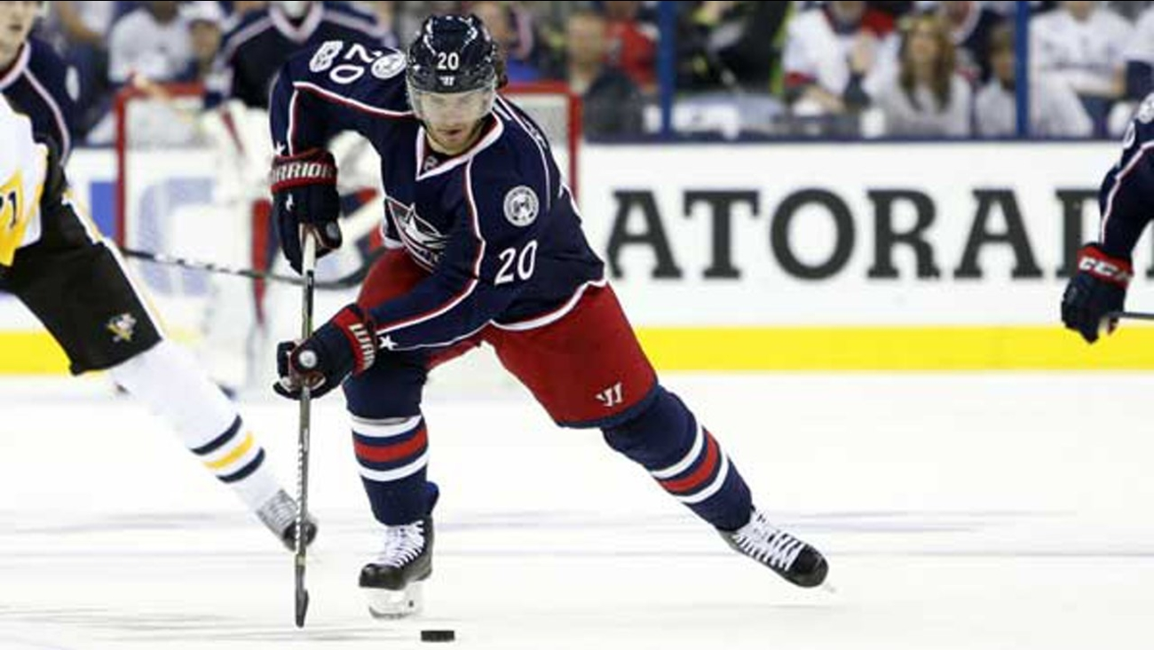 Columbus Blue Jackets' Brandon Saad plays against the Pittsburgh Penguins during Game 3 of a first-round NHL hockey playoff series Sunday, April 16, 2017, in Columbus, Ohio.
