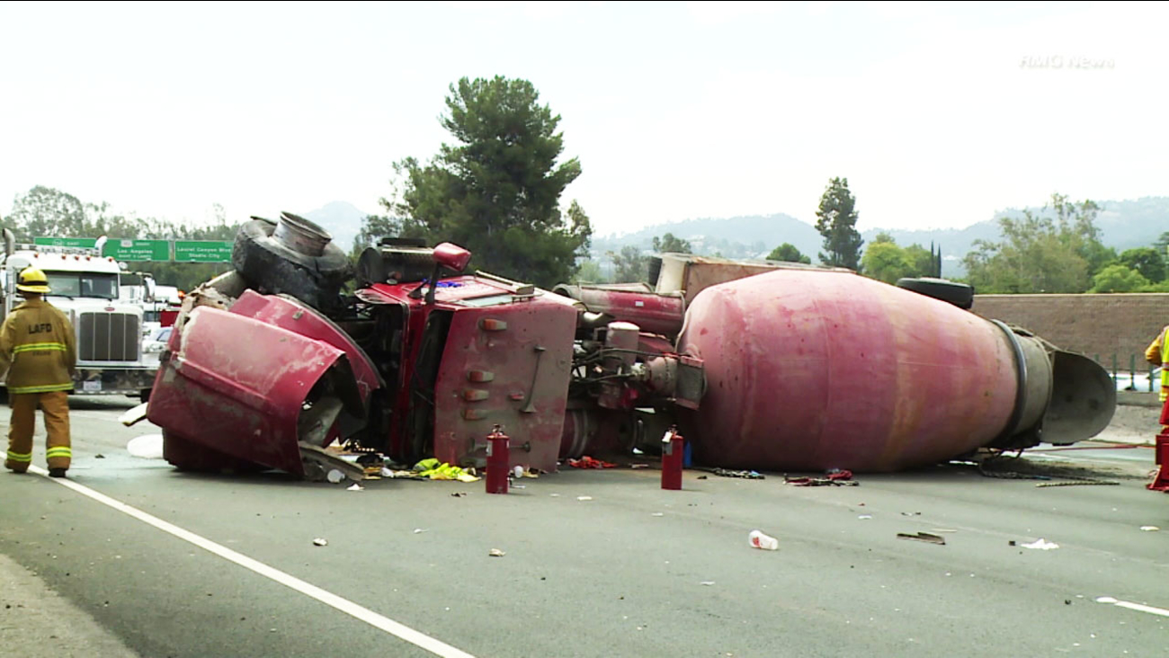 A section of the 101 Freeway closed on Saturday, June 24, 2017, after 75 gallons  of fuel spilled from a cement truck when it rolled over.