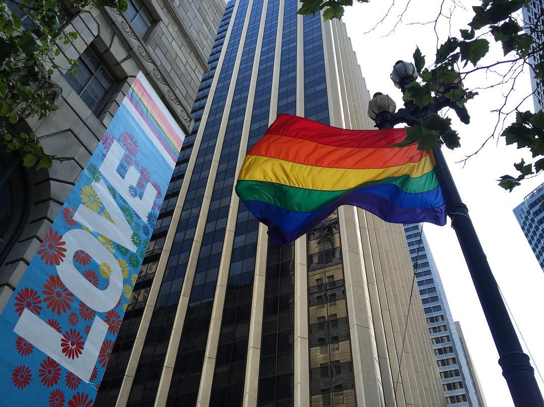 <div class='meta'><div class='origin-logo' data-origin='KGO'></div><span class='caption-text' data-credit=''>A &#34;Love&#34; sign hangs near a Pride flag in downtown San Francisco. Photo submitted to KGO-TV by @Peaceofhair/Instagram</span></div>