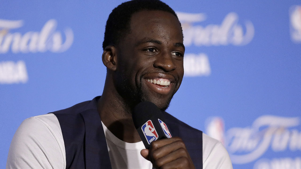 Warriors' Draymond Green speaks at a news conference after Game 2 of basketball's NBA Finals against the Cleveland Cavaliers in Oakland, Calif., Sunday, June 4, 2017. (AP Photo)