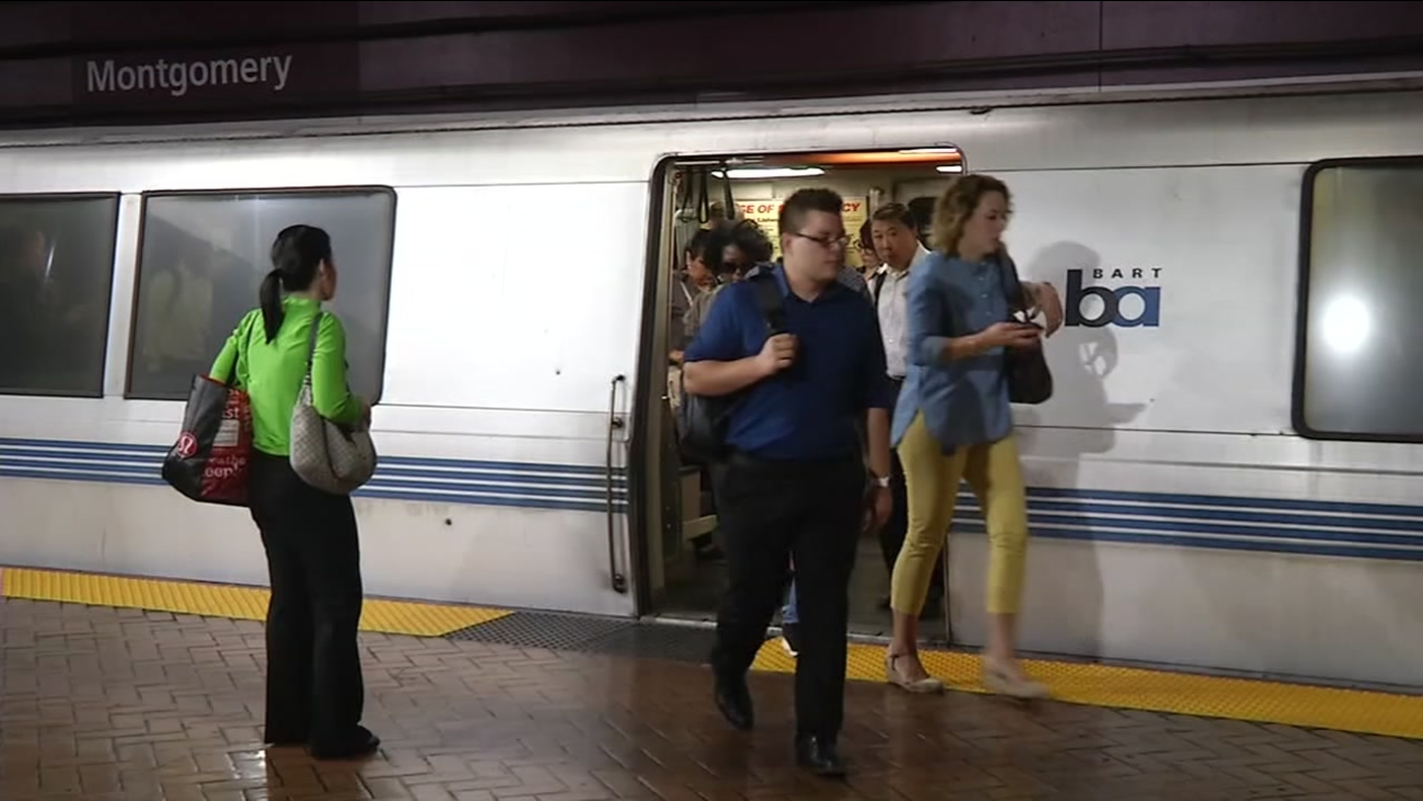 BART riders exit a train car at Montgomery Station in San Francisco in this undated file photo.