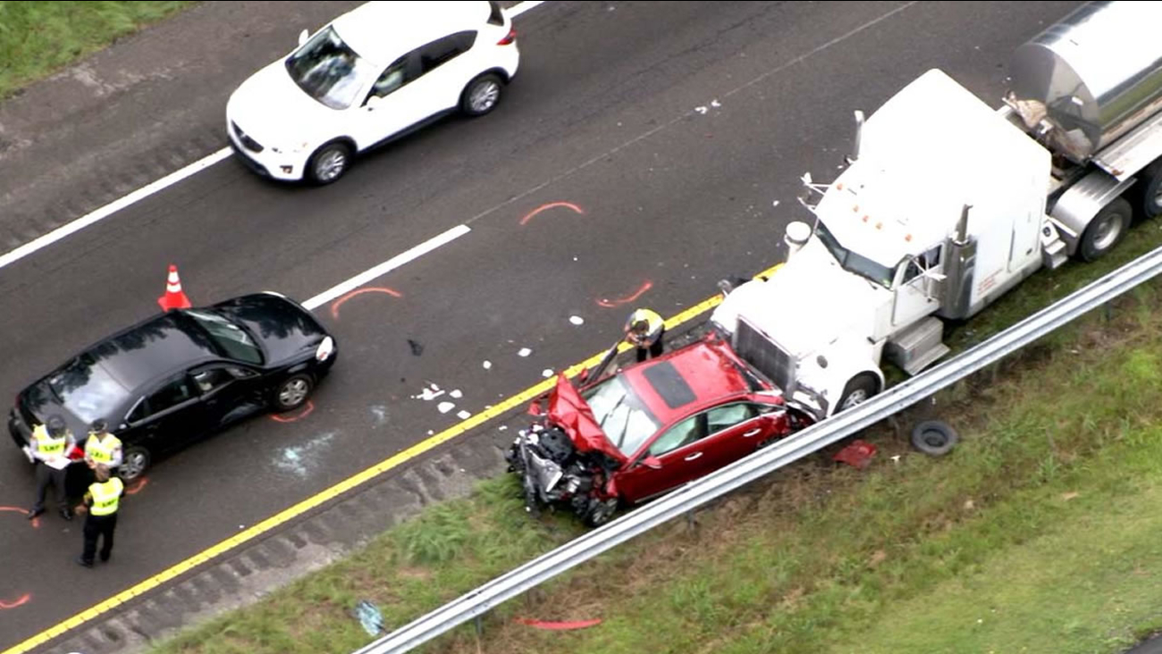 Pictures from Chopper 11 showed a car with heavy damage.
