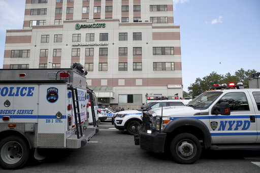 <div class='meta'><div class='origin-logo' data-origin='none'></div><span class='caption-text' data-credit='AP Photo/Mary Altaffer'>Police vehicles converge on Bronx Lebanon Hospital in New York after a gunman opened fire there on Friday, June 30, 2017.</span></div>