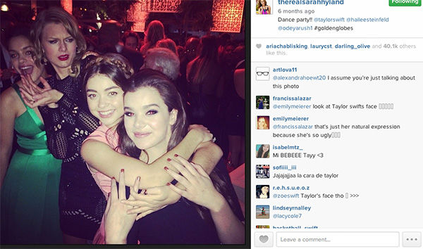"<div class=""meta image-caption""><div class=""origin-logo origin-image ""><span></span></div><span class=""caption-text"">Taylor Swift photobombs Sarah Hyland and Hailee Seinfeld. (therealsarahhyland / Instagram)</span></div>"