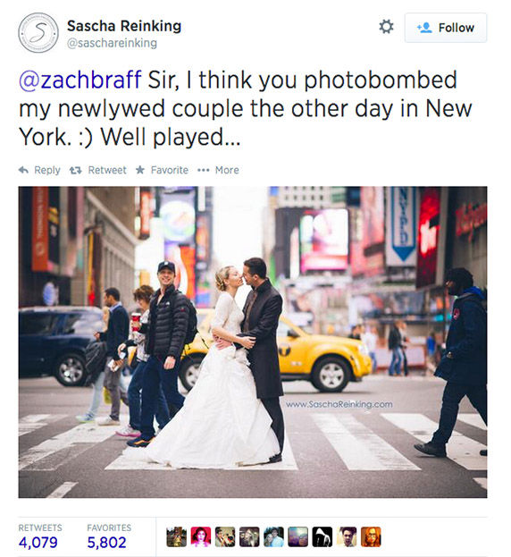 "<div class=""meta image-caption""><div class=""origin-logo origin-image ""><span></span></div><span class=""caption-text"">Zach Braff photobombs a newly wed couple as they pose in front of Times Square. (saschareinking / Twitter)</span></div>"