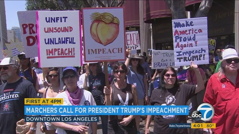 Thousands of anti-Trump protesters march in downtown LA for ...