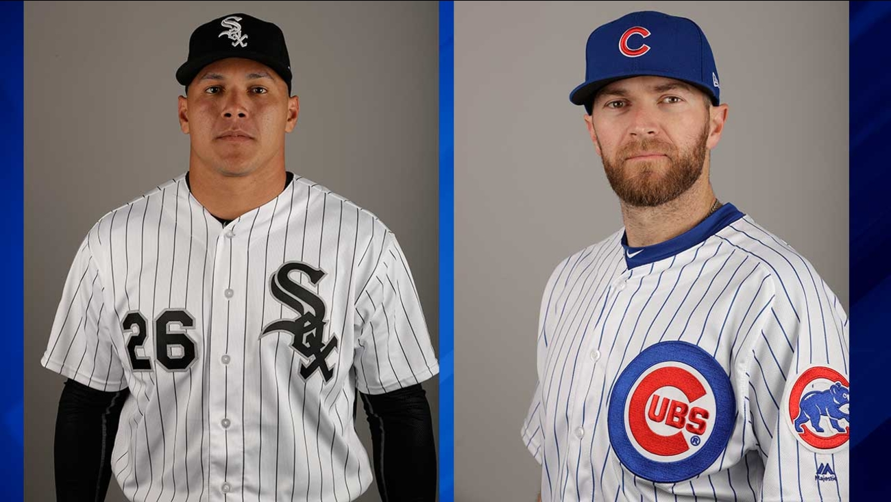 White Sox outfielder Avisail Garcia (left) and Cubs pitcher Wade Davis (right)
