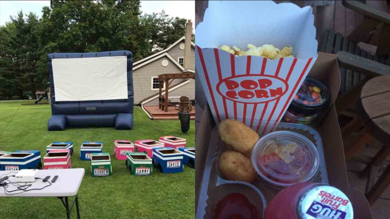 Ohio aunt creates 'drive-in' movie theater for family