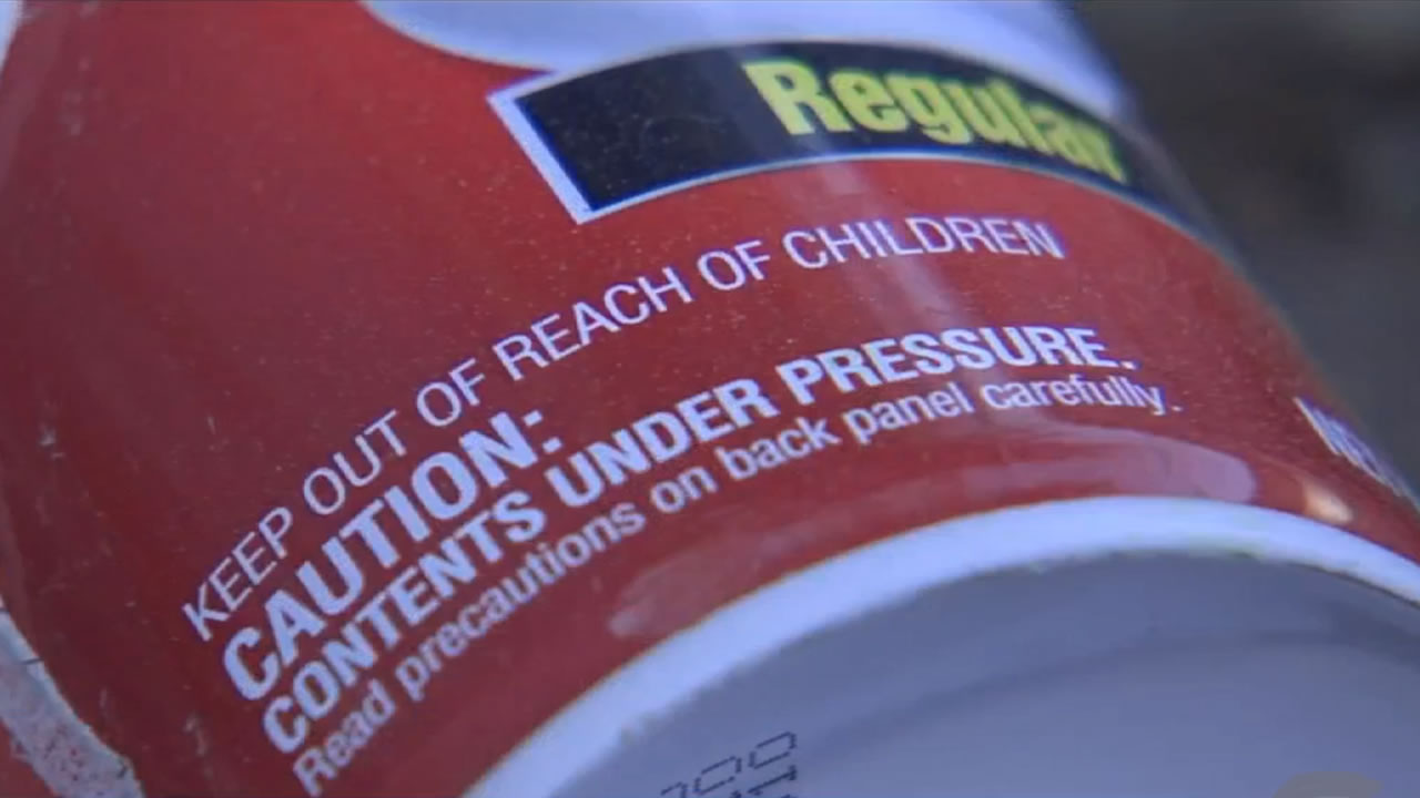 A can of shaving cream found at the scene of a fireworks accident in San Bernardino, Calif. that left three children injured on Tuesday, July 4, 2017.
