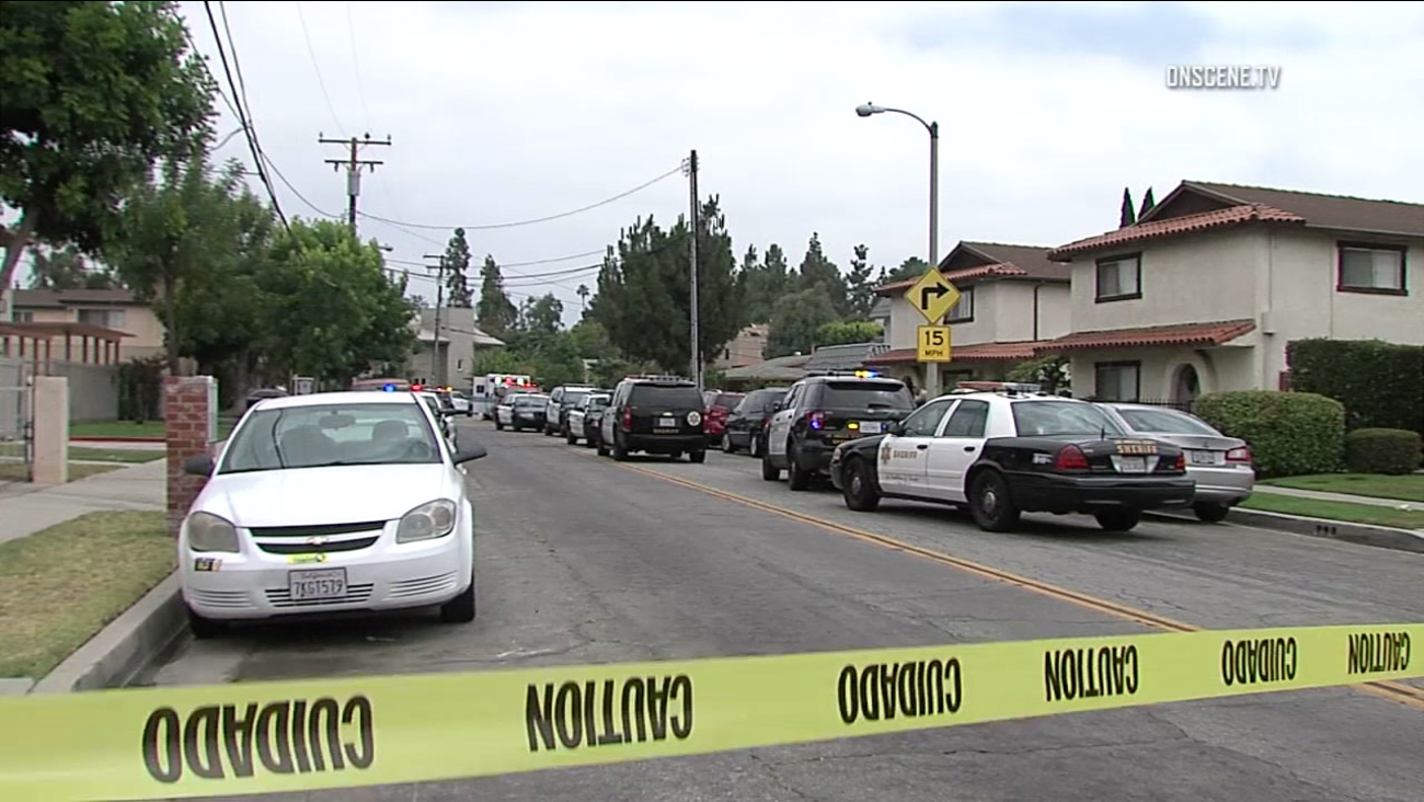Authorities cordoned off a street in Whittier after a woman was fatally shot and her boyfriend was injured on Saturday, July 1, 2017.