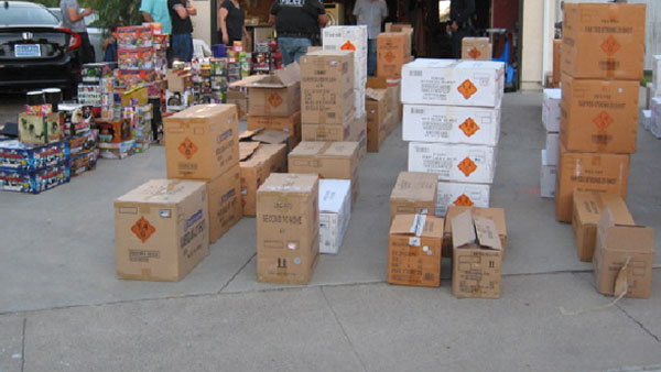 Authorities in Buena Park seized more than 2,000 pounds of fireworks from a home on Tuesday, July 4, 2017.