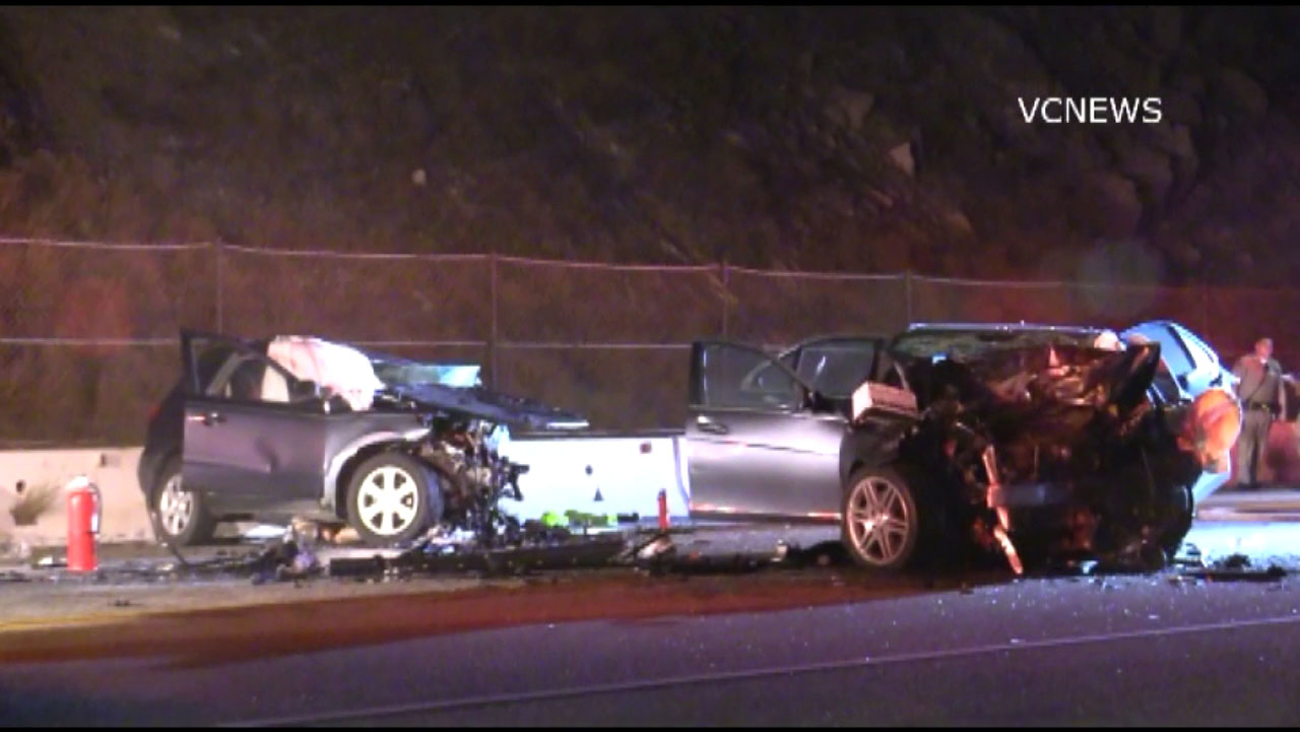 Three people died in a head-on collision on Pacific Coast Highway near Point Mugu, officials said.