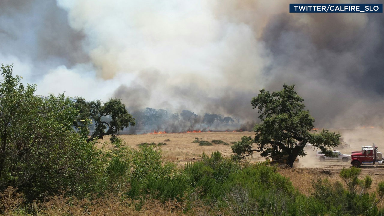 Cal Fire in San Luis Obispo tweeted out an image of a fast-moving blaze dubbed the Alamo Fire in San Luis Obispo County on Friday, July 7, 2017.