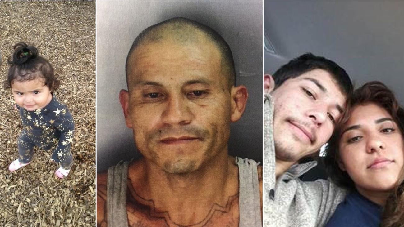 Deleyza Ceron (L), suspect Juan Santos Martinez (C), suspect Valentin Angel Villasenor (R), and Maria Sanchez Palomares (R) are shown in photos.