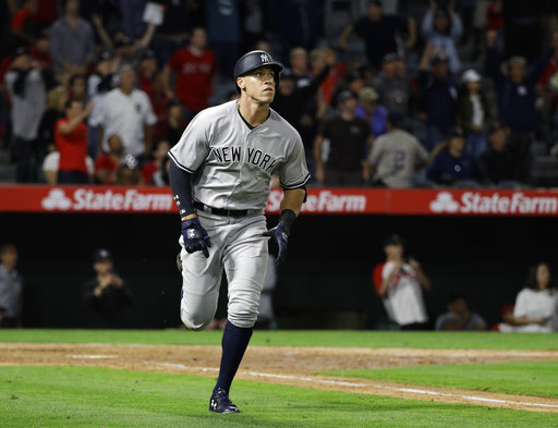 "<div class=""meta image-caption""><div class=""origin-logo origin-image none""><span>none</span></div><span class=""caption-text"">New York Yankees' Aaron Judge watches the flight of his two-run home run during the eighth inning of a baseball game against the Los Angeles Angels, Monday, June 12, 2017 (AP Photo/Jae C. Hong)</span></div>"