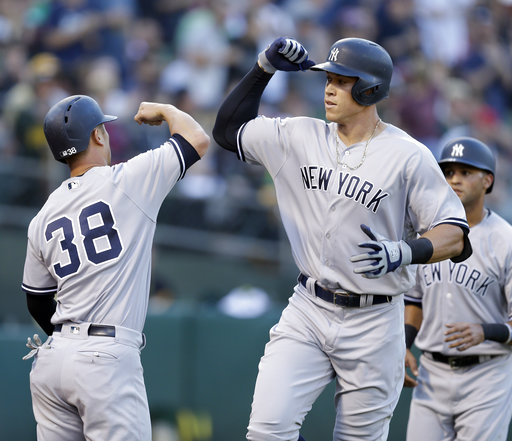 "<div class=""meta image-caption""><div class=""origin-logo origin-image none""><span>none</span></div><span class=""caption-text"">Aaron Judge, right, celebrates with Rob Refsnyder (38) after hitting a three-run home run off Oakland Athletics' Sean Manaea in the third inning on  Friday, June 16, 2017. (AP Photo/Ben Margot)</span></div>"