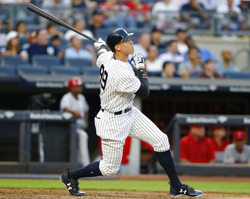 "<div class=""meta image-caption""><div class=""origin-logo origin-image none""><span>none</span></div><span class=""caption-text"">Yankees' Aaron Judge watches his three-run home run during the second inning of a baseball game against the Los Angeles Angels in New York, Thursday, June 22, 2017. (AP Photo/Kathy Willens)</span></div>"