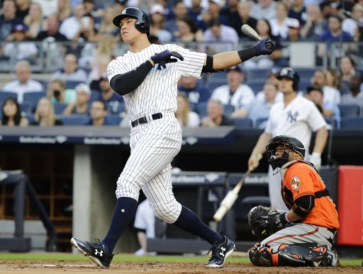 "<div class=""meta image-caption""><div class=""origin-logo origin-image none""><span>none</span></div><span class=""caption-text"">Yankees' Aaron Judge watches a home run during the first inning against the Baltimore Orioles Saturday, June 10, 2017, in New York. (AP Photo/Frank Franklin II)</span></div>"