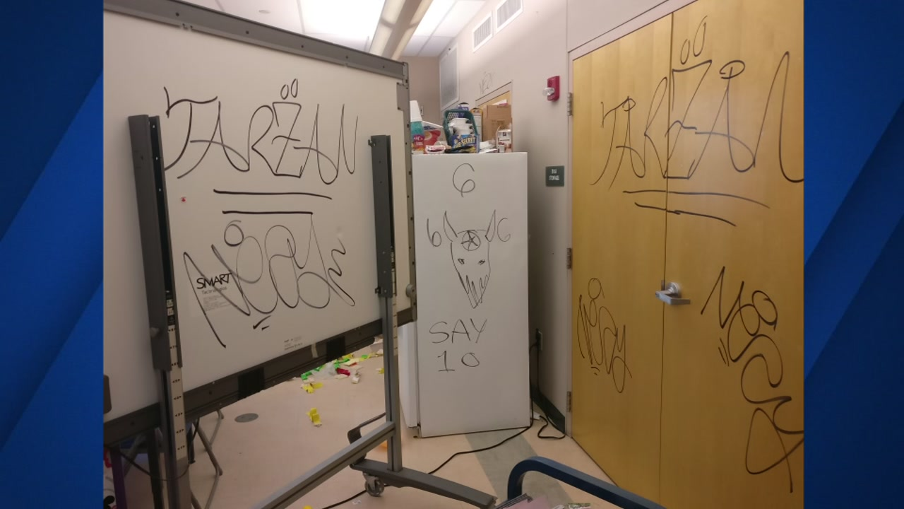 Undated photo shows vandalism at Acorn Woodland Elementary in Oakland, California.