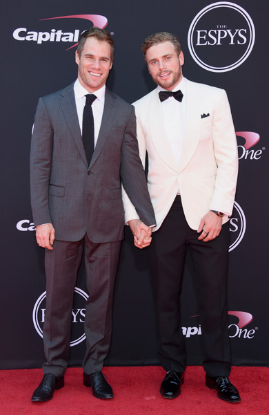 <div class='meta'><div class='origin-logo' data-origin='none'></div><span class='caption-text' data-credit='Jordan Strauss/Invision/AP'>Gus Kenworthy, right, and Matthew Wilkas arrive at the ESPYS at the Microsoft Theater on Wednesday, July 12, 2017, in Los Angeles.</span></div>