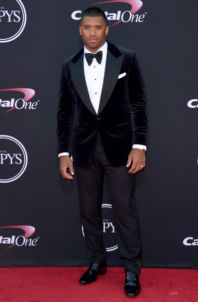 <div class='meta'><div class='origin-logo' data-origin='none'></div><span class='caption-text' data-credit='Jordan Strauss/Invision/AP'>NFL football player Russell Wilson, of the Seattle Seahawks, arrives at the ESPYS at the Microsoft Theater on Wednesday, July 12, 2017, in Los Angeles.</span></div>