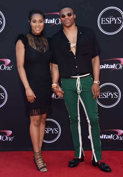 <div class='meta'><div class='origin-logo' data-origin='none'></div><span class='caption-text' data-credit='Jordan Strauss/Invision/AP'>NBA basketball player Russell Westbrook, of the Oklahoma City Thunder and Nina Earl arrive at the ESPYS at the Microsoft Theater on Wednesday, July 12, 2017, in Los Angeles.</span></div>