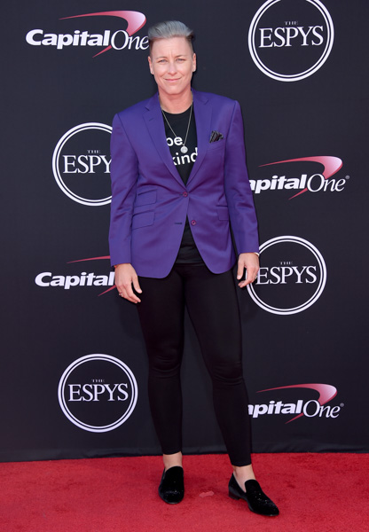 <div class='meta'><div class='origin-logo' data-origin='none'></div><span class='caption-text' data-credit='Jordan Strauss/Invision/AP'>Abby Wambach arrives at the ESPYS at the Microsoft Theater on Wednesday, July 12, 2017, in Los Angeles.</span></div>