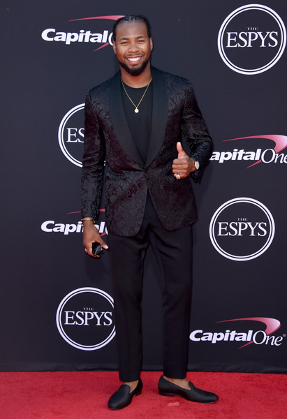 <div class='meta'><div class='origin-logo' data-origin='none'></div><span class='caption-text' data-credit='Jordan Strauss/Invision/AP'>NFL football player Josh Norman, of the Washington Redskins, arrives at the ESPYS at the Microsoft Theater on Wednesday, July 12, 2017, in Los Angeles.</span></div>