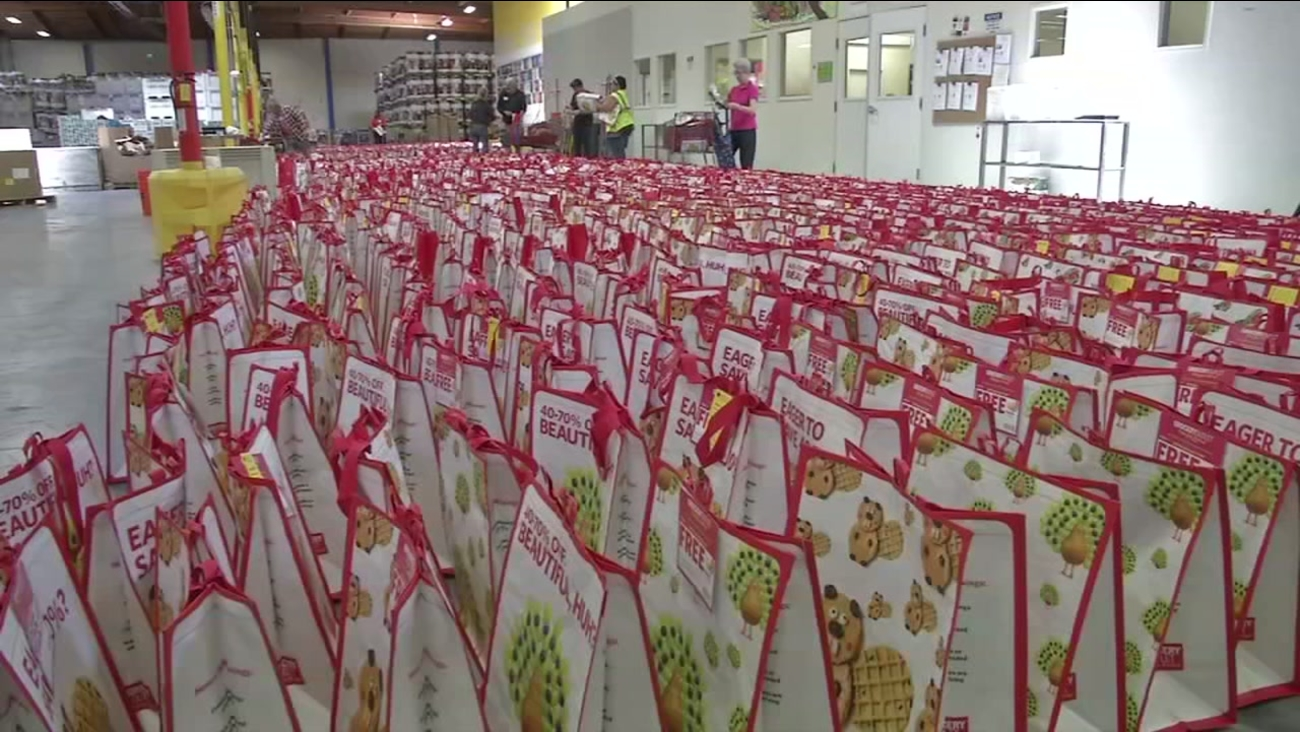 Food bags to be donated to help those in need appear in Alameda County, Calif. on Thursday, July 13, 2017.