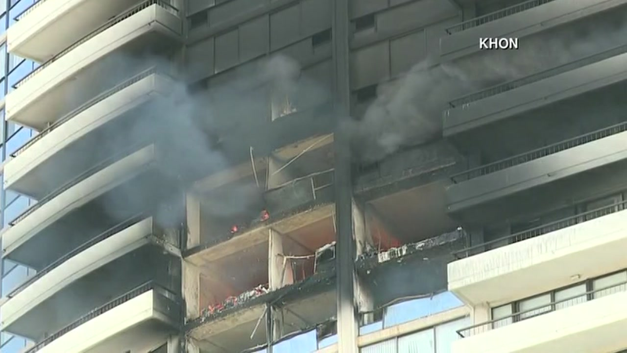 The Marco Polo condo complex in Honolulu, Hawaii is seen on fire on Friday, July 14, 2017.