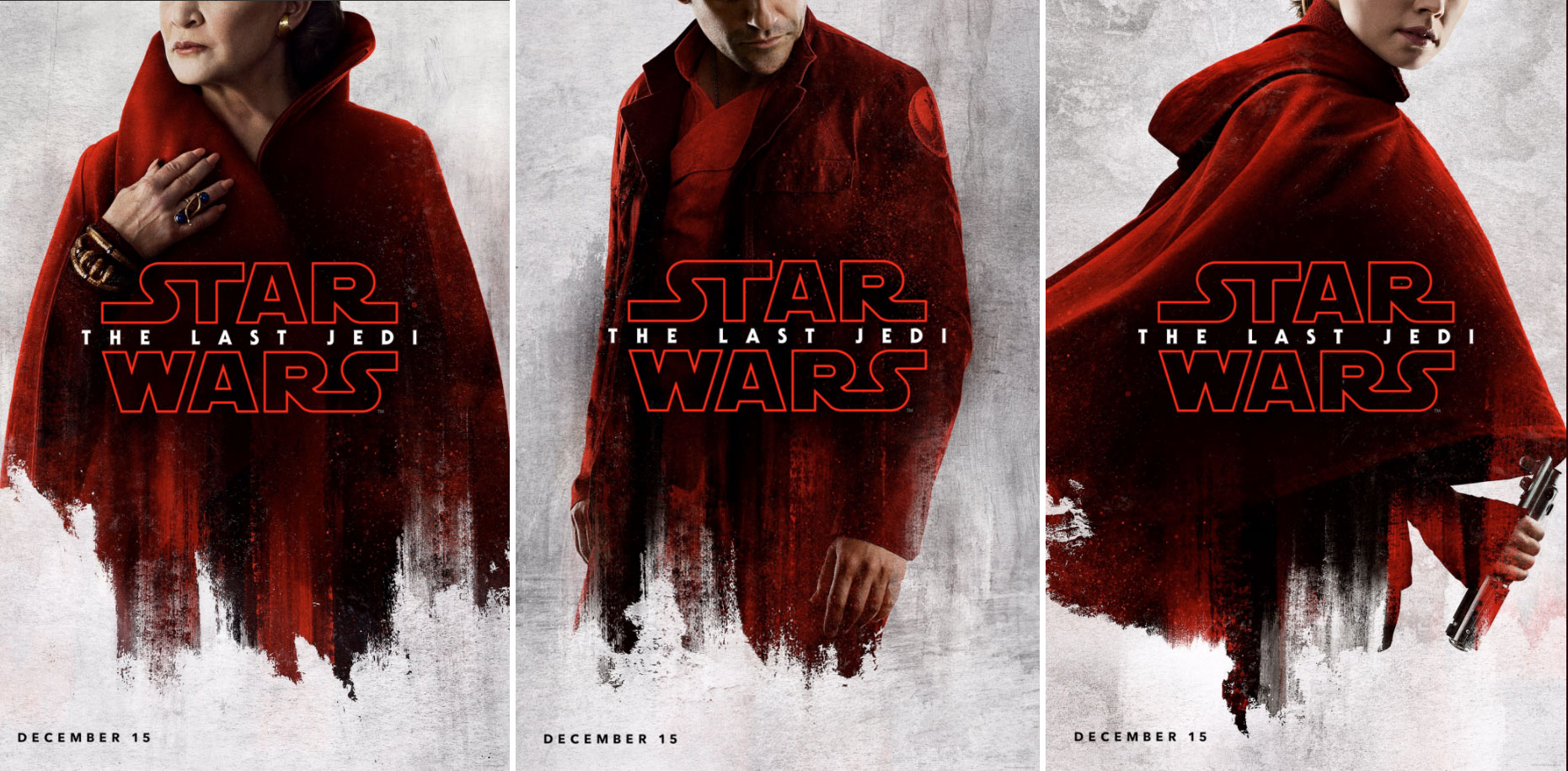 """General Leia, Poe Dameron and Rey are shown in """"The Last Jedi"""" promotional posters."""