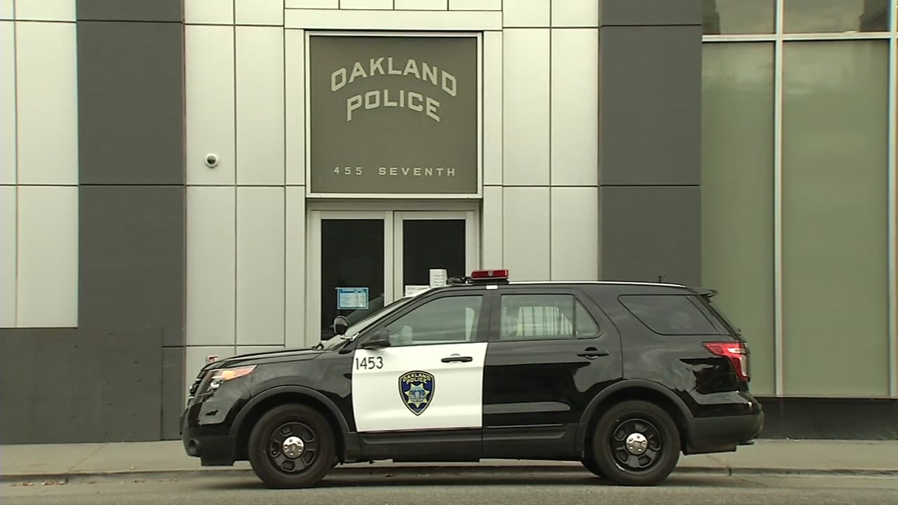 This undated image shows a police car outside the department's headquarters in Oakland, Calif.