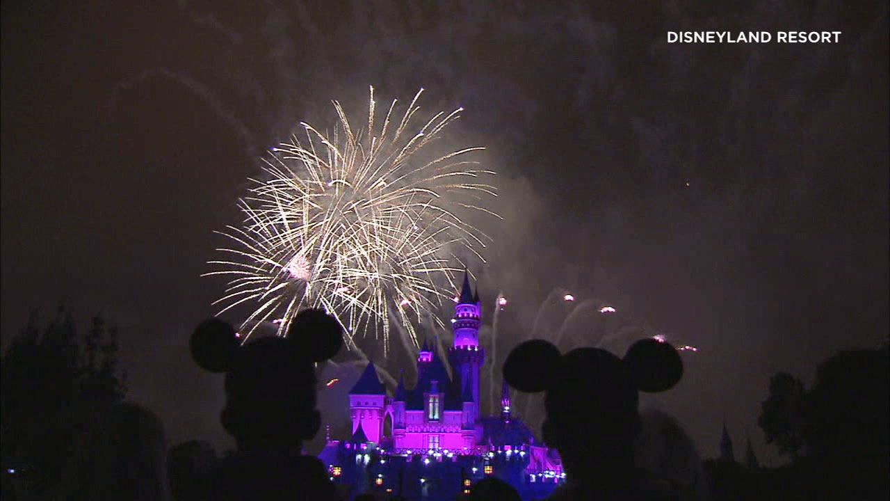 An undated photo shows fireworks behind Sleeping Beauty's Castle at Disneyland.