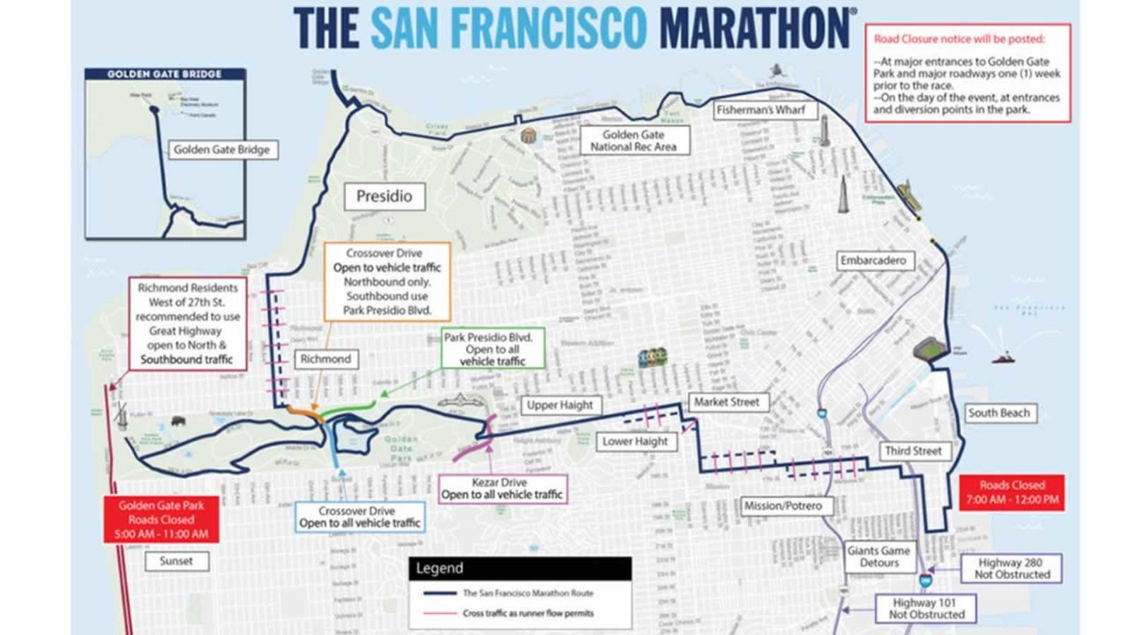 sf marathon elevation map Full List San Francisco Marathon Road Closures Neighborhood
