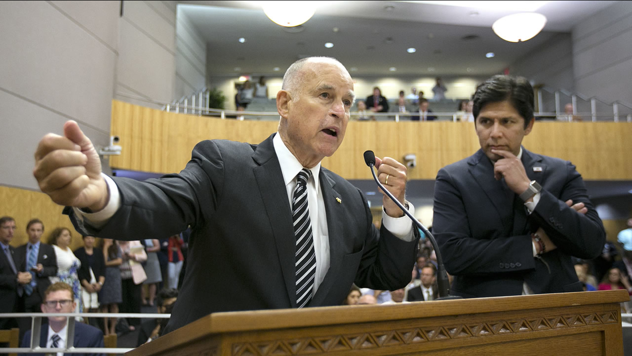 California Governor Jerry Brown lobbies for the cap and trade deal in Sacramento, Calif. on Monday, July 17, 2017.