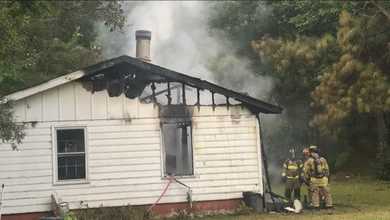 A home was severely damaged in a fire on Lane of Sir Kay in Garner Tuesday morning.
