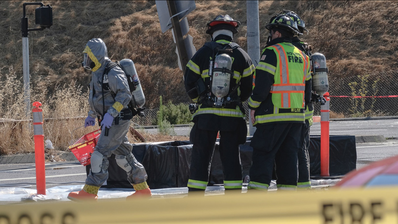 Firefighters at scene of hazmat in Novato, California, Tuesday, July 18, 2017.